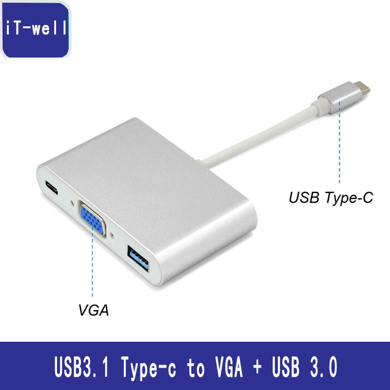 USB Tip-C VGA USB 3.0 PD Şarj Adaptörü Yılında 3 1 USB-C Video Veri Şarj Converter Macbook Chromebook için Dell XPS 12/13