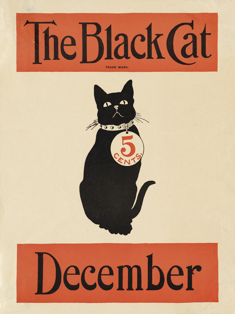 vintage art reproduction modern decorative mural prints the black cat December vintage posters canvas painting